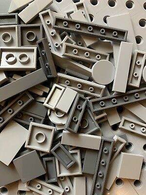 Lego Light Gray Grey 1x8 Smooth Finishing Flat Tiles Modular Buildings 12 Pcs