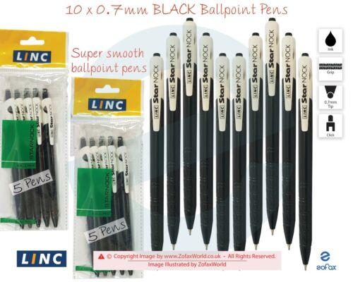 10 x 0.7mm LINC Star Ball Point BLACK Retractable Ballpoint Pens Super Smooth