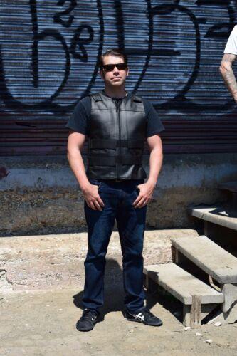 Men Leather MotorcycleBiker Tactical Street Vest BulletProof Style BlackV115-OS