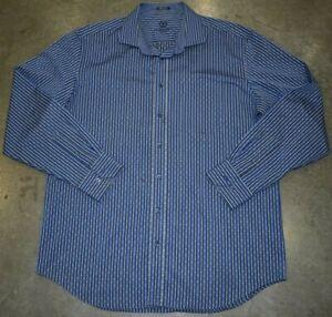 Bugatchi-Uomo-Long-Sleeve-Mens-Button-Down-Shirt-Blue-Striped-Size-XXL
