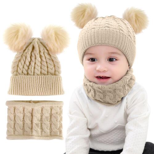 Enfant Bébé Fille Hiver Chaud Crochet Tricot Chapeau Noeud Fourrure Pom Pom Beanie Cap