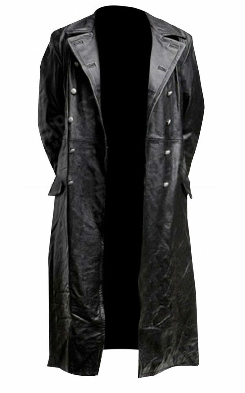 German Classic Officer Military High Quality Real & Faux Leder Trench Coat