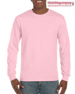 496f1fb9 Light Pink Adult Gildan Long Sleeve Ultra Cotton t-shirt-Mens Tops ...