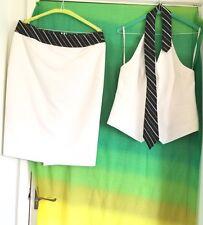 Impresionante Karen Millen Blanco/negro corbata halter top talla 14/Falda Traje de Tamaño 12