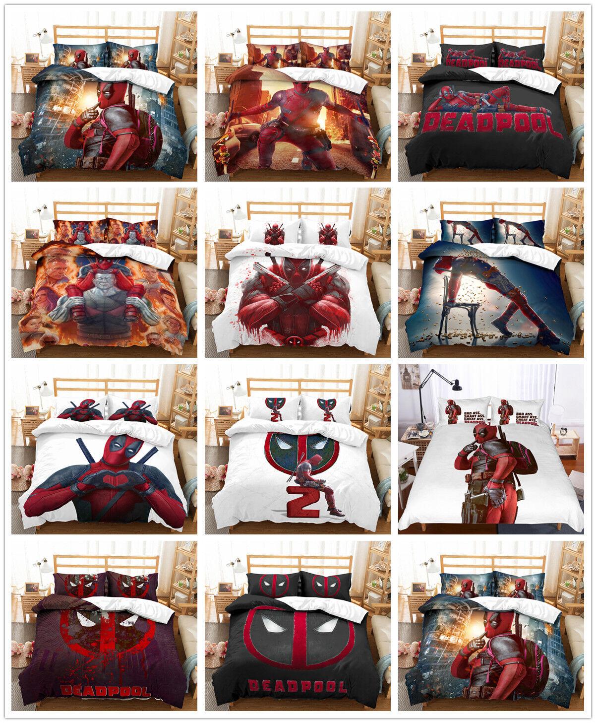 3D Anime Hot Blood Deadpool Bedding Set Duvet Cover Comforter Cover Pillowcase