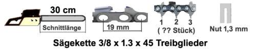 2 cadenas Espada 30cm 3//8 x 1,3 x 45 adecuado para Tanaka 330 350 351 4000