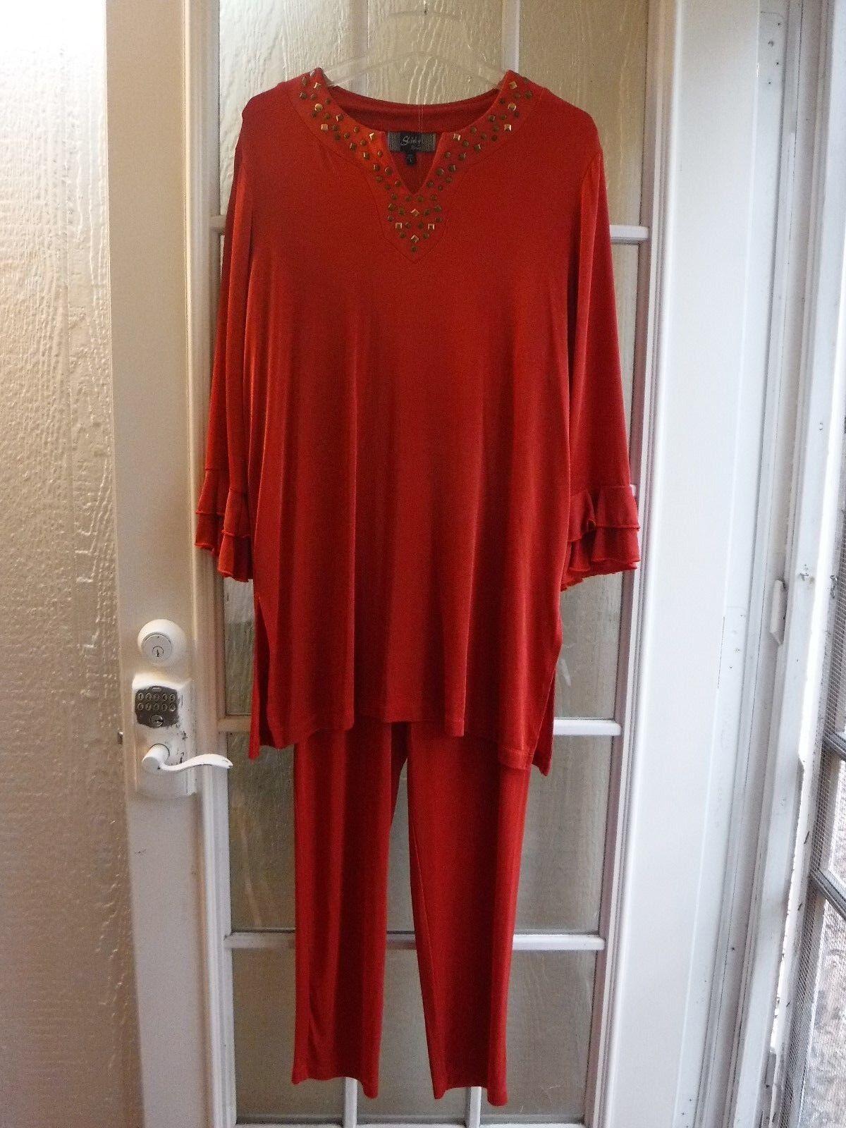 Slinky Brand Cayenne C Acetate&Spandex Blend Women's Pant Suit SZ L Excellent