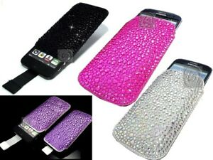Luxury-Slim-Crystal-Bling-Sparkle-Diamond-Pull-Cord-Tab-Case-Cover-Pouch-Various