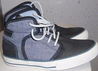 Chicos siguiente entrenadores Reino Unido 12 EUR 31 Azul Zapatos De Tobillo Mid Top Estilo Denim bombas en muy buena condición