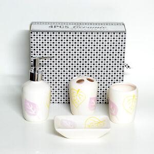 Set Da Bagno 4 Pezzi Da Appoggio Accessori In Ceramica Decorata