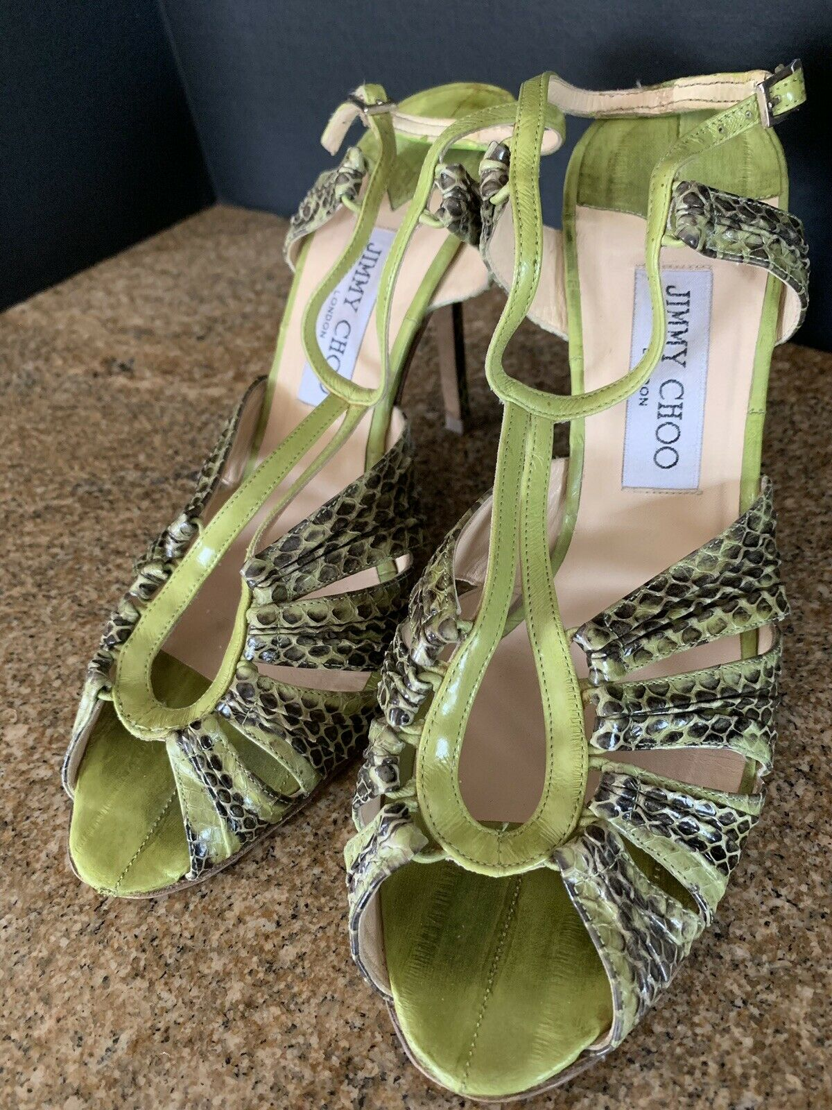 JIMMY CHOO Lime Green Speckled Snakeskin Raven Sandals, Size 39.5 9 Retail  895