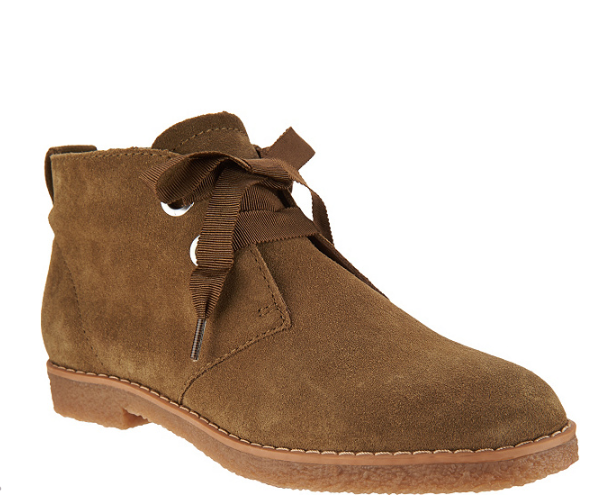Isaac Mizrahi Live! Suede Chukka Boots Grosgrain Laces Olive Booties Donna 8.5