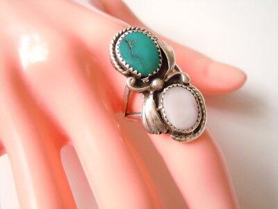 Großer Geprüfter Silber Ring Ohne Stempel Mit Türkis & Perlmutt Gr 53/7,3 G Limpid In Sight Fine Rings