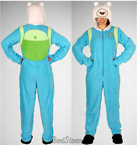 Image is loading Adventure-Time-FINN-Adult-Costume-PJs-Pajamas-Hood- 175690f09