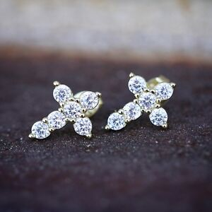 Small-Mens-Women-039-s-14K-Gold-Lab-Simulated-Diamond-Iced-Cross-Stud-Earrings