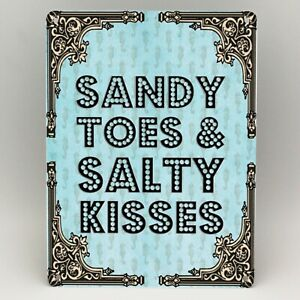 BEACH THEME METAL SIGN SANDY TOES Seaside Shabby Chic Gift Vintage Plaque Shed