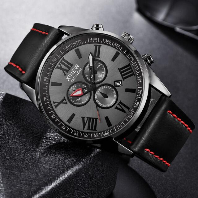 Men's Leather Band Sports Date Roman Numerals Analog Military Quartz Wrist Watch