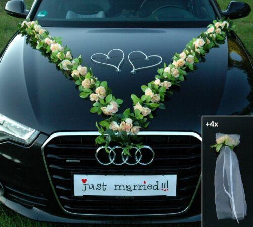 VIP GIRLANDE Autoschmuck Braut Paar Rose Deko Dekoration Hochzeit Kirche Auto