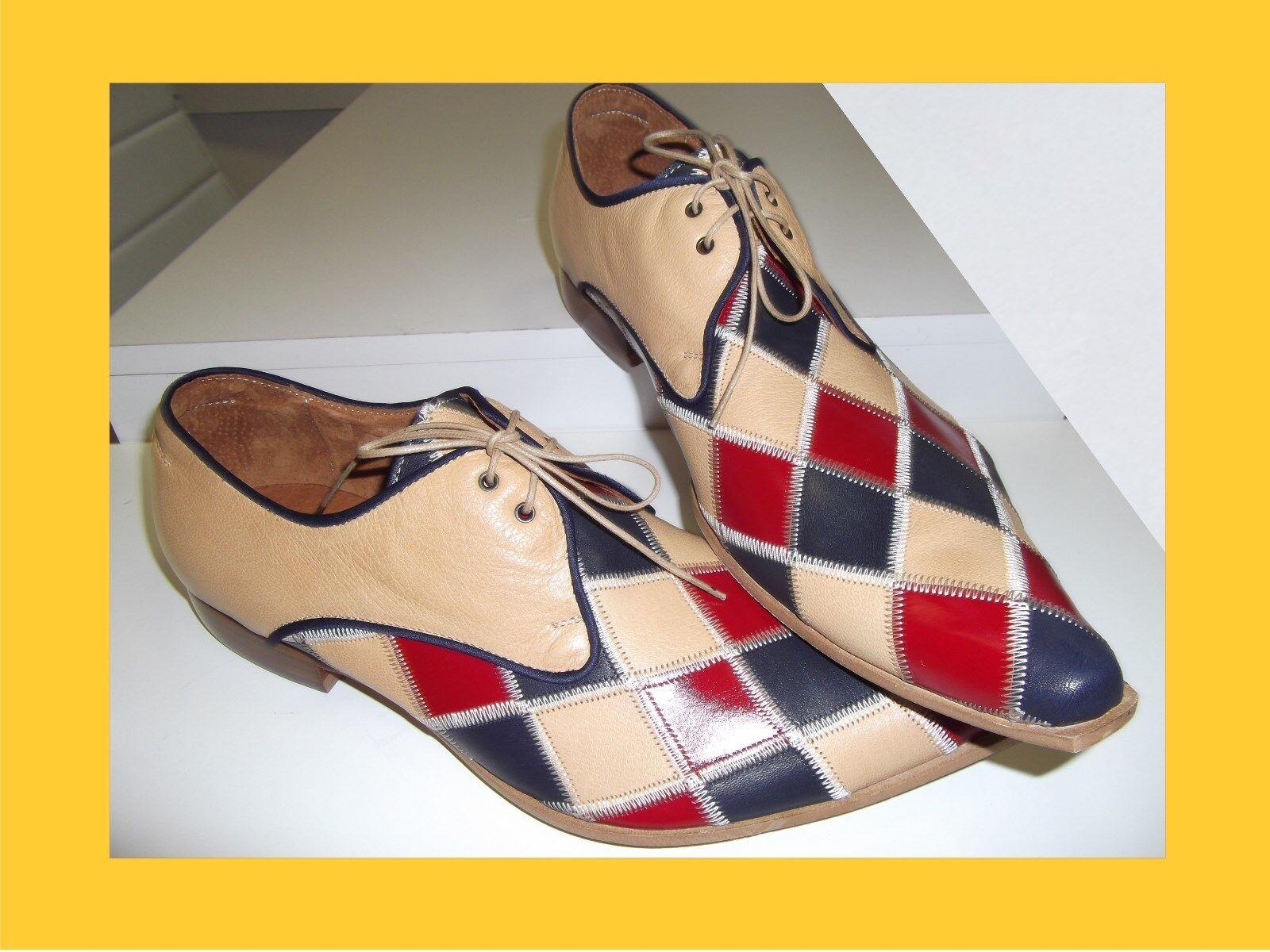 Herren Designer Schuhe Echtleder  Gr. 42-45 beige rot blau Schnürer