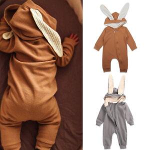 579f976e8c6 Baby Boy Girl Bunny Rabbit Ear Romper Hooded Long Sleeve Bodysuit ...