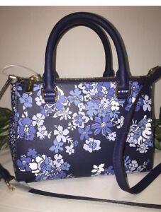 be29ff81cf74 MICHAEL KORS KELLEN XS SATCHEL CROSSBODY NAVY BLUE FLORAL BAG $298 ...