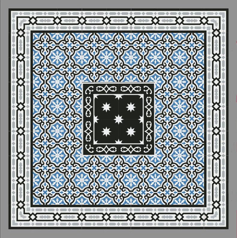 1m² Zementfliesen Boden Wand blau - Vintage Jugendstil Fliese Dekor Iraquia 1439