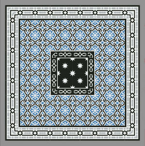 1m Zementfliesen Boden Wand Blau Vintage Jugendstil Fliese Dekor
