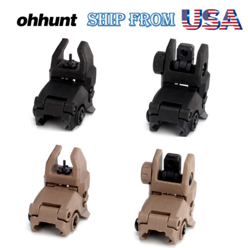 Ohhunt Polymer Front Rear Sight Flip Up Backup Sights Fit on 20mm Picatinny Rail