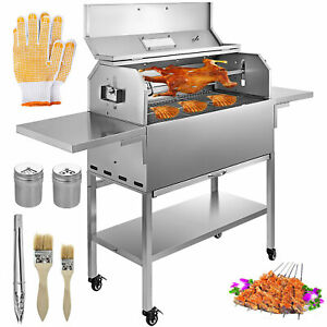 BBQ-Charcoal-Grill-Patio-25W-Motor-2-Side-Boards-Spit-Roaster-Rotisserie-Motor