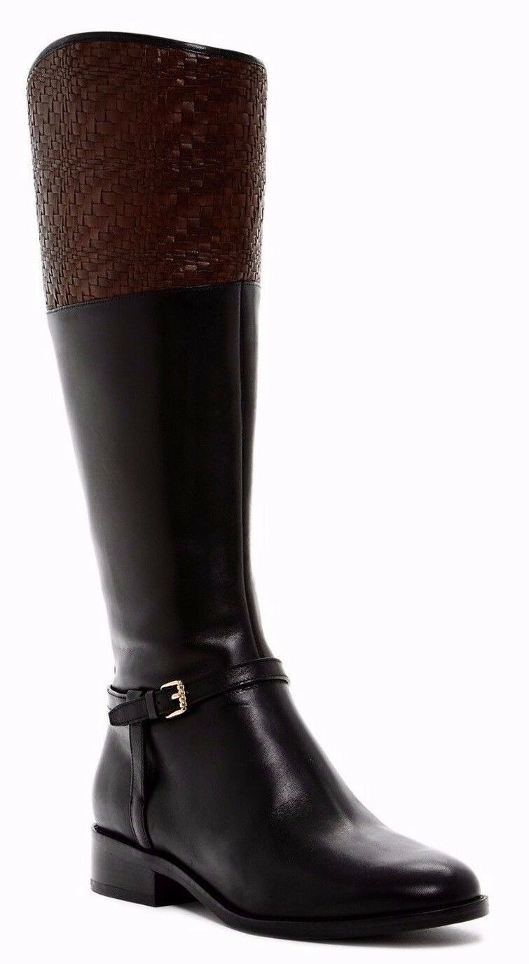 Cole Haan Women Genevieve Woven Cuff Leather Riding Boot Black Brown Sz 6.5 $450
