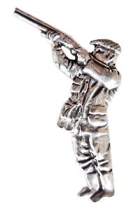 Hand Made in Cornwall Shooter Countryside Pursuits Pewter Pin Badge