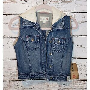 Feed-USA-4-Target-Denim-Hoodie-Crop-Vest-Jacket-Size-XS-New-With-Tags