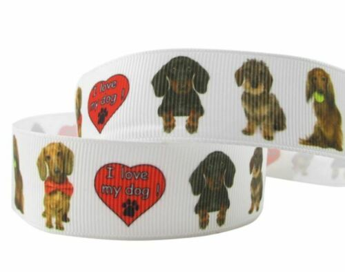 Webband 4132 I love my Dog 22mm Breite Ripsband Borte
