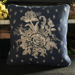 1-039-Hand-Stitched-Artistic-Flower-Bouquet-Needlepoint-Pillow-Navy-Blue-Decorative