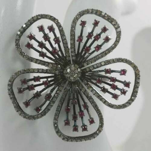 925 Sterling Silver Flower Ring Studded Natural Ruby/&Pave Diamond jewelry DJ