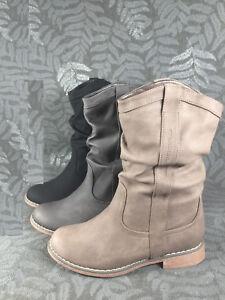 b9e3262ee67521 Das Bild wird geladen Damen-Stiefel-Schlupfstiefel-Boots-Winter-Stiefeletten -gefuettert-neu-
