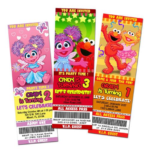 Elmo Sesame Street Birthday Party Invitation Ticket 1st Abby Cadabby C2