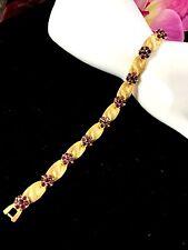 CROWN TRIFARI GOLD-TONE AMETHYST RHINESTONE FEBRUARY BIRTHDAY RIBBON BRACELET