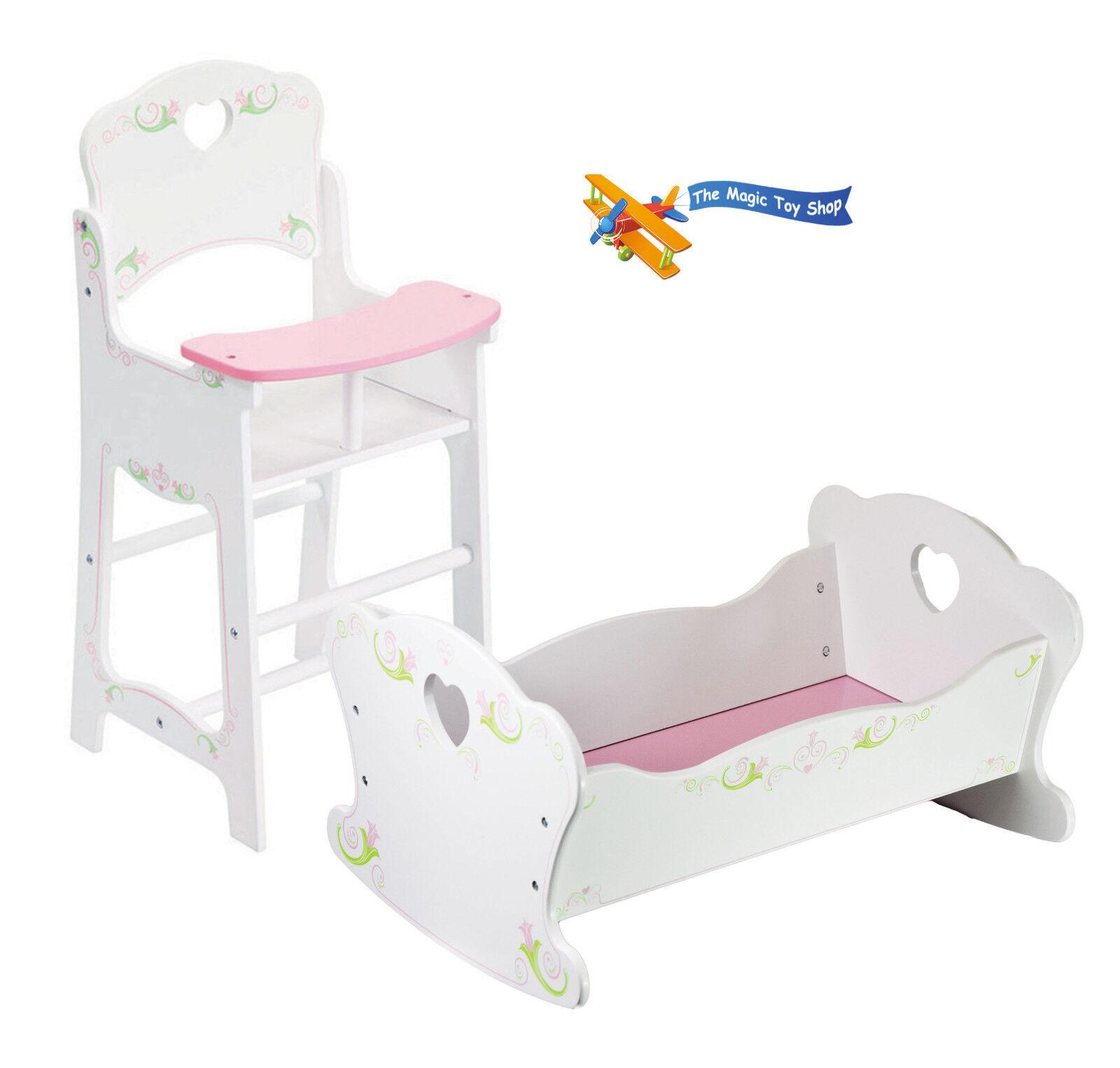 Puppen Holz Hochstuhl und Wiege Kinderbett Puppe Möbelset