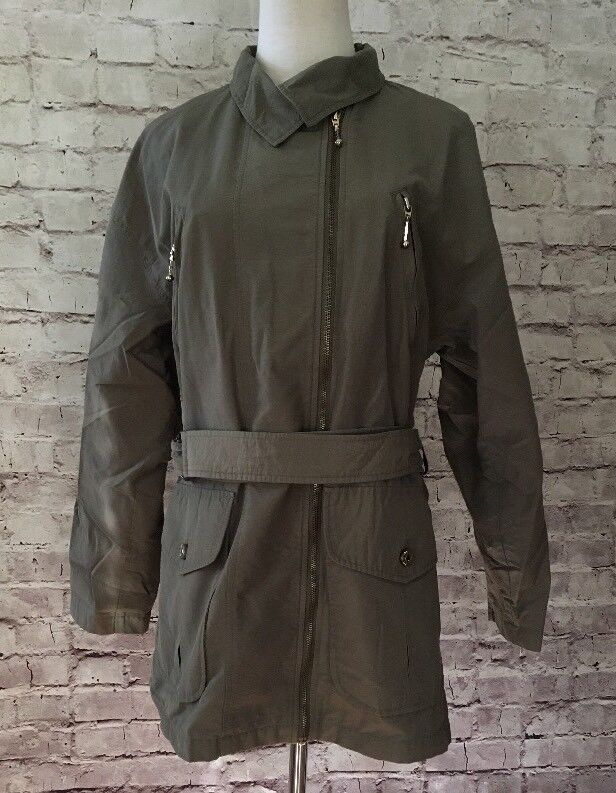 Fleet Street Army Olive Green Asymmetric Hip Length Belted Trench Coat Size 8