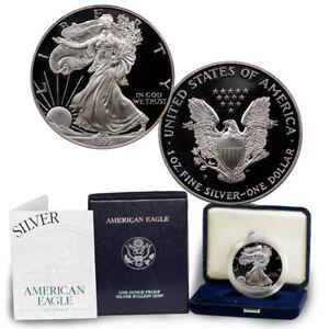 1999-P-Proof-American-Silver-Eagle-1-oz-999-Fine-silver-Coin-w-Box-amp-COA