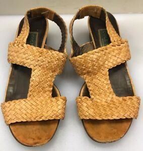 Cole-Haan-Women-6-B-Sandals-Woven-Leather-Brown-Tan-Beige-Italy-Hand-Made