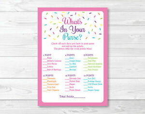 Pink Baby Sprinkle Whats In Your Purse Baby Shower Game Printable Ebay