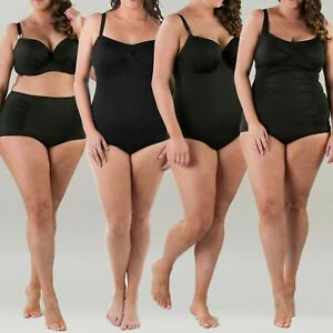 14-30 DD//EPlus Size Underwire Swim Bra and Matching Full Swim Brief Black