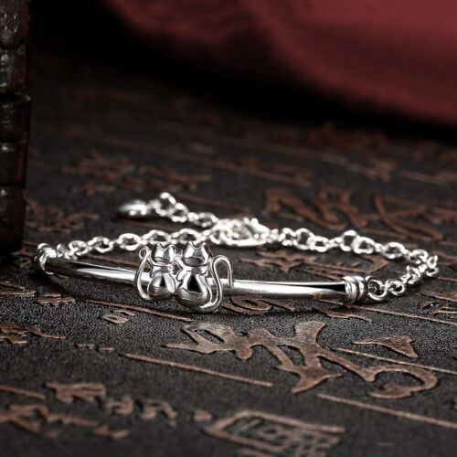 S925 Sterling Silver Cute Dual Cat Fashion Jewelry Chain Bangle Bracelet UK