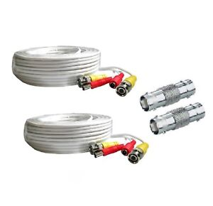 2 Pack Premium 60ft Hd Bnc Extension Cables For 1080p