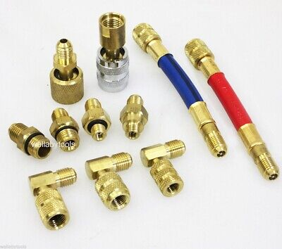 11Pc Manifold Adapters Set A//C Air Conditioning Refrigeration Charging AC Hose
