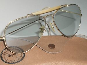 fde03ce74a48 1960 s VINTAGE B L RAY BAN 1 30 10K GF PHOTO GRAYCHANGEABLES AVIATOR ...