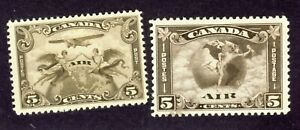 2x-Canada-Airmail-Stamps-C1-5c-MLH-F-VF-C2-5c-Mercury-MH-F-VF-Cat-Value-64-00