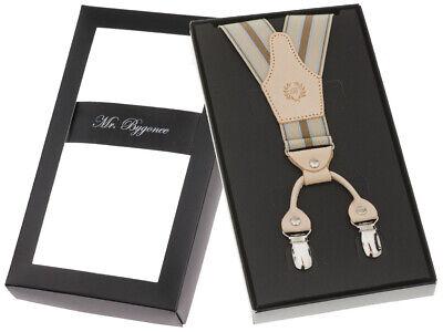 Elegant Hosenträger 4 Clips Y-Form Extra Breit Und Stark Echt Leder Beige